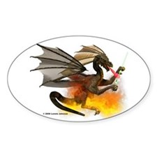 Dragon Lampworker - Side View Oval Decal