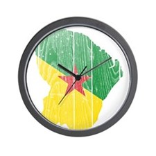 French Guiana Flag And Map Wall Clock