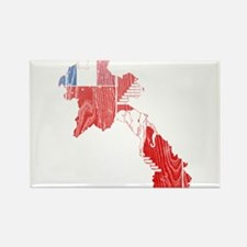 French Laos Flag and Map Wood.png Rectangle Magnet