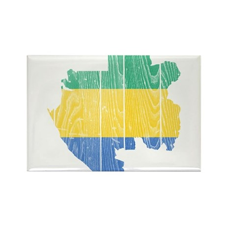 Gabon Flag And Map Rectangle Magnet (10 pack)