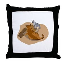 Cats Fighting Over Toys Throw Pillow