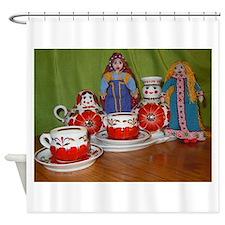 Russian Doll Tea Time Shower Curtain
