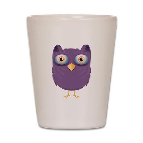 Cute Purple Owl Shot Glass