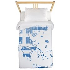 Greece Flag And Map Twin Duvet