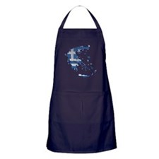 Greece Flag And Map Apron (dark)
