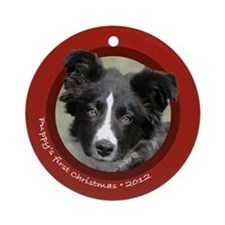 BC Puppy's 1st Christmas Round Red Ornament