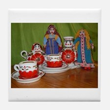 Russian Doll Tea Time Tile Coaster