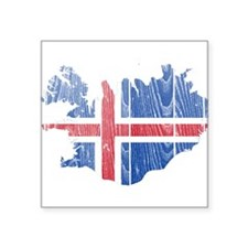 """Iceland Flag And Map Square Sticker 3"""" x 3"""""""