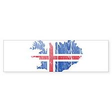 Iceland Flag And Map Bumper Bumper Sticker