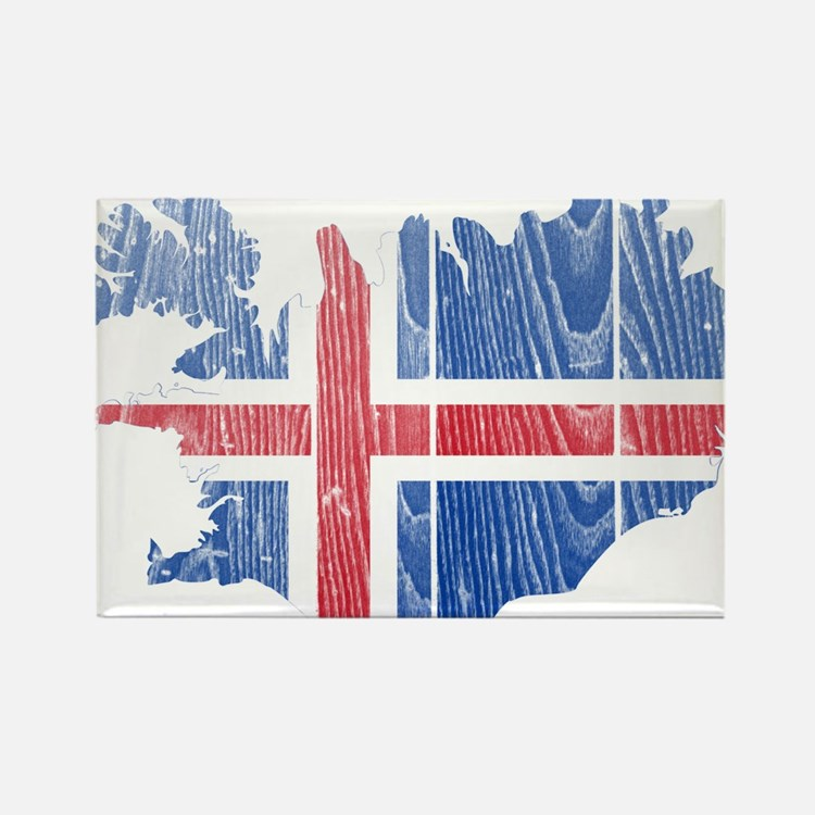 Iceland Flag And Map Rectangle Magnet (10 pack)