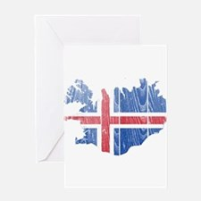 Iceland Flag And Map Greeting Card