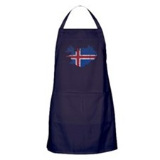 Iceland Flag And Map Apron (dark)