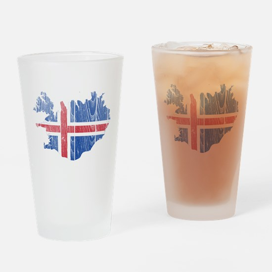 Iceland Flag And Map Drinking Glass