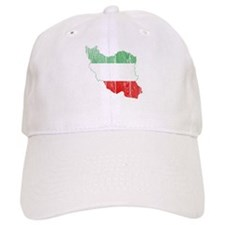 Iran Tri Color Flag And Map Baseball Cap