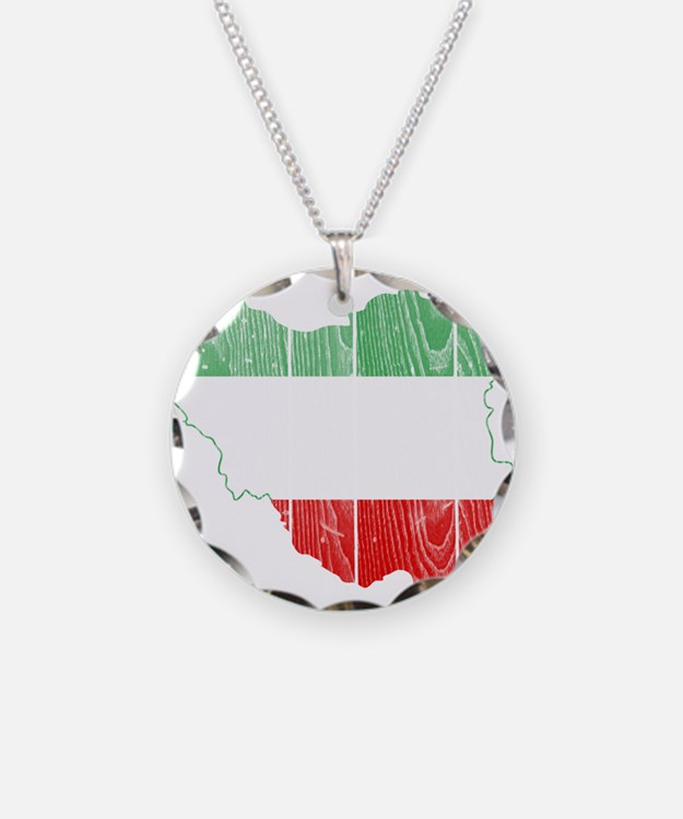 Iran Tri Color Flag And Map Necklace