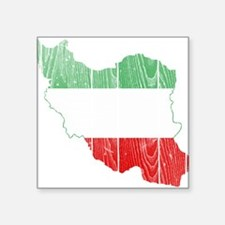 """Iran Tri Color Flag And Map Square Sticker 3"""" x 3"""""""