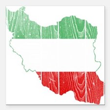 """Iran Tri Color Flag And Map Square Car Magnet 3"""" x"""