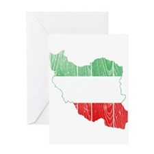 Iran Tri Color Flag And Map Greeting Card