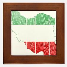 Iran Tri Color Flag And Map Framed Tile