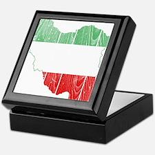 Iran Tri Color Flag And Map Keepsake Box