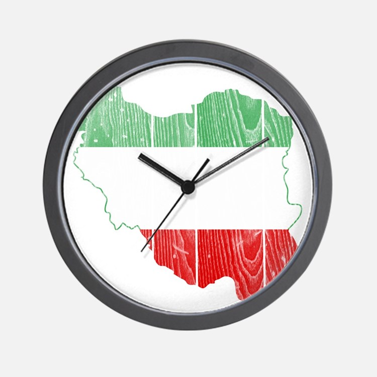 Iran Tri Color Flag And Map Wall Clock