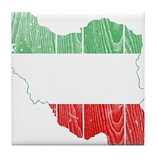 Iran Tri Color Flag And Map Tile Coaster