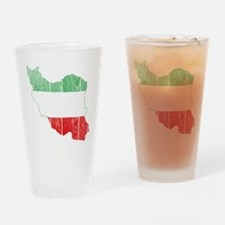 Iran Tri Color Flag And Map Drinking Glass