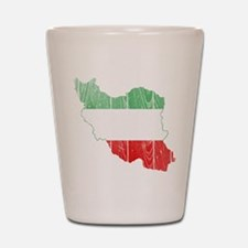 Iran Tri Color Flag And Map Shot Glass