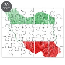 Iran Tri Color Flag And Map Puzzle
