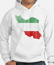 Iran Tri Color Flag And Map Hoodie