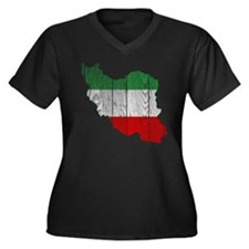 Iran Tri Color Flag And Map Women's Plus Size V-Ne