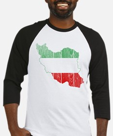 Iran Tri Color Flag And Map Baseball Jersey