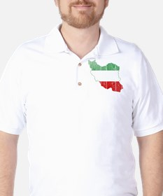 Iran Tri Color Flag And Map T-Shirt