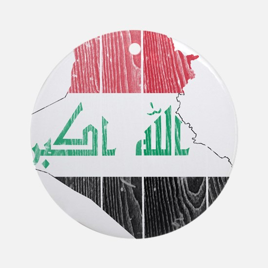 Iraq Flag And Map Ornament (Round)