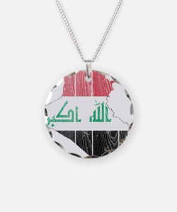 Iraq Flag And Map Necklace