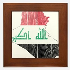 Iraq Flag And Map Framed Tile