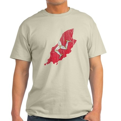 Isle Of Mann Flag And Map Light T-Shirt