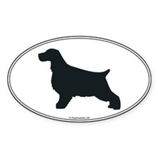 En. Cocker Silhouette Oval Decal