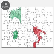 Italy Flag And Map Puzzle