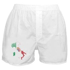 Italy Civil Ensign Flag And Map Boxer Shorts