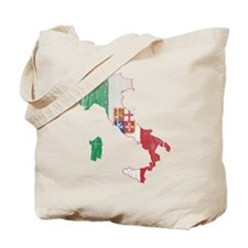 Italy Civil Ensign Flag And Map Tote Bag