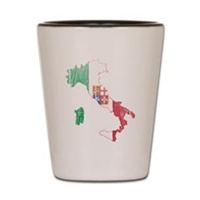 Italy Civil Ensign Flag And Map Shot Glass
