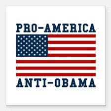 "Pro-America Anti-Obama Square Car Magnet 3"" x 3"""