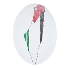 Palestine Flag And Map Ornament (Oval)