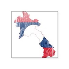"""Laos Flag And Map Square Sticker 3"""" x 3"""""""