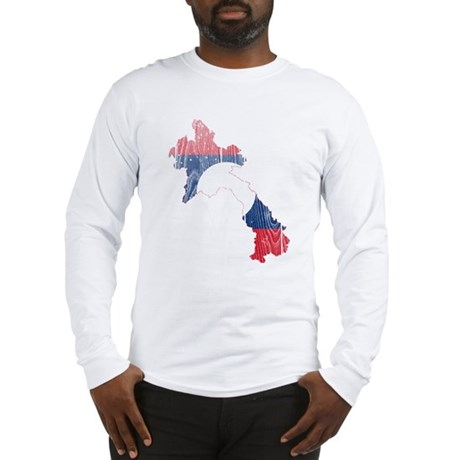 Laos Flag And Map Long Sleeve T-Shirt