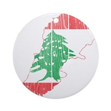 Lebanon Flag and Map Wood.png Ornament (Round)