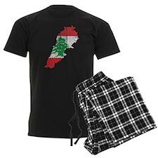 Lebanon Flag and Map Wood.png Pajamas