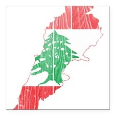 """Lebanon Flag and Map Wood.png Square Car Magnet 3"""""""