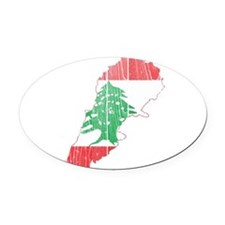 Lebanon Flag and Map Wood.png Oval Car Magnet